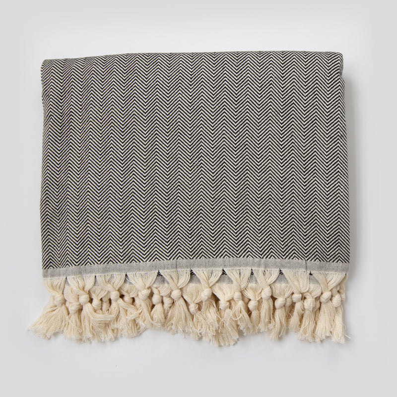 Herringbone Throw Black