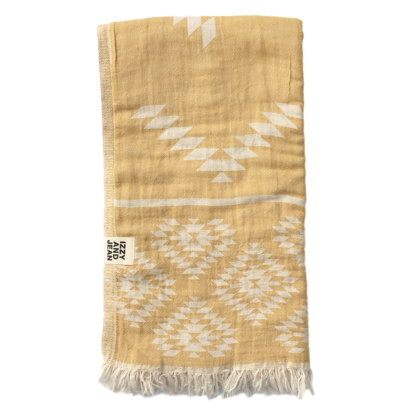 Kilim Turkish Towel Mustard - BACK SOON
