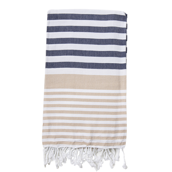 Sofia Turkish Towel Navy Beige