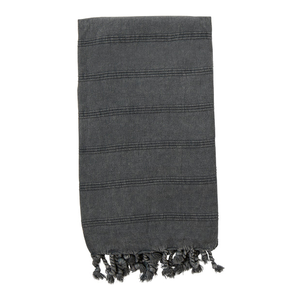 Stonewashed Turkish Towel Charcoal