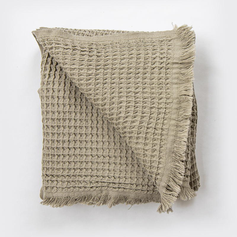 Waffle Turkish Throw Olive Grey - NEW