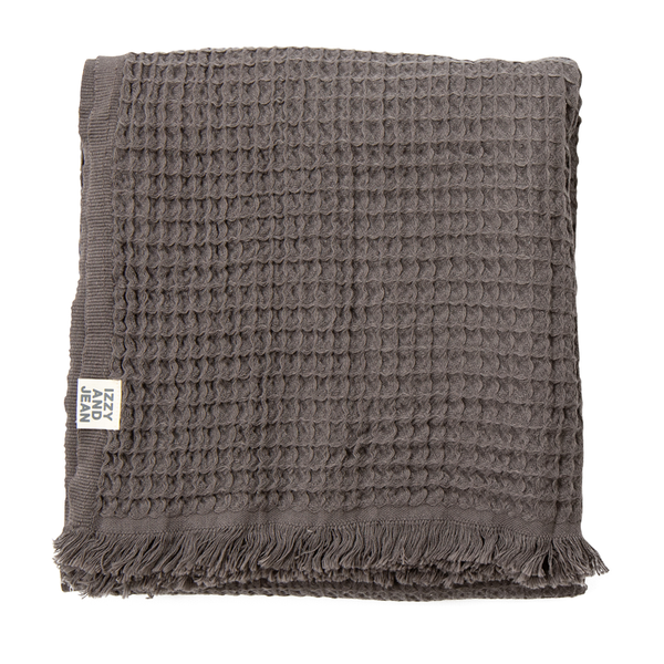Waffle Turkish Throw Charcoal - NEW