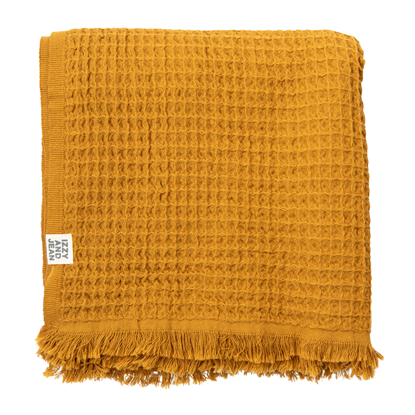 Waffle Turkish Throw Mustard - NEW