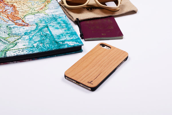 Snakehive wooden back case with passport, map and sunglasses
