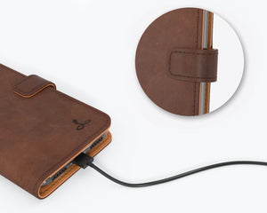 Vintage Chestnut Brown Leather Wallet - Samsung Galaxy Note 20