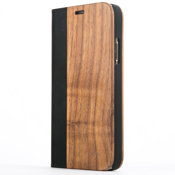 Walnut Wood Wallet Case - Apple iPhone X - Snakehive