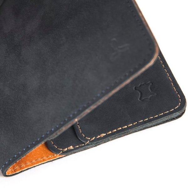 Vintage Leather Bifold Wallet, Navy Blue/Tan - Snakehive