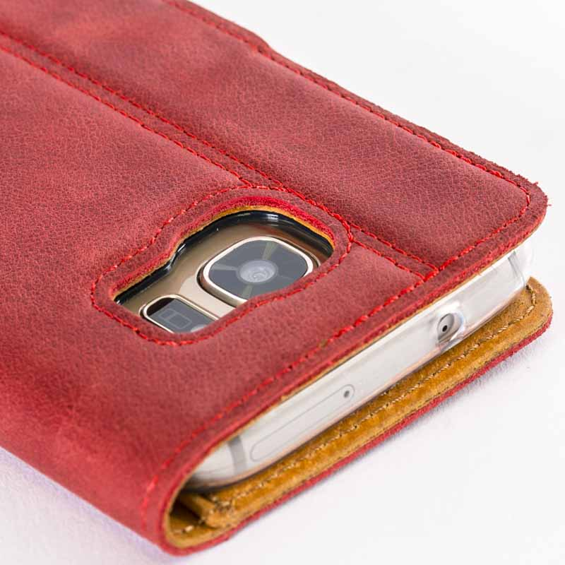 <b>Samsung Galaxy S7 </b> <br> Vintage Burgundy Leather Wallet - Snakehive