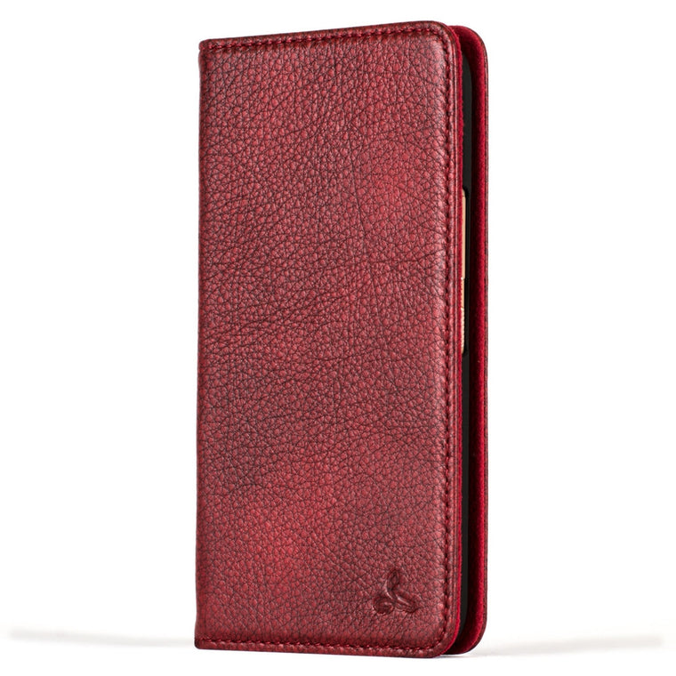 Slimline Ruby Red/Black Dappled Leather Wallet – HTC 10