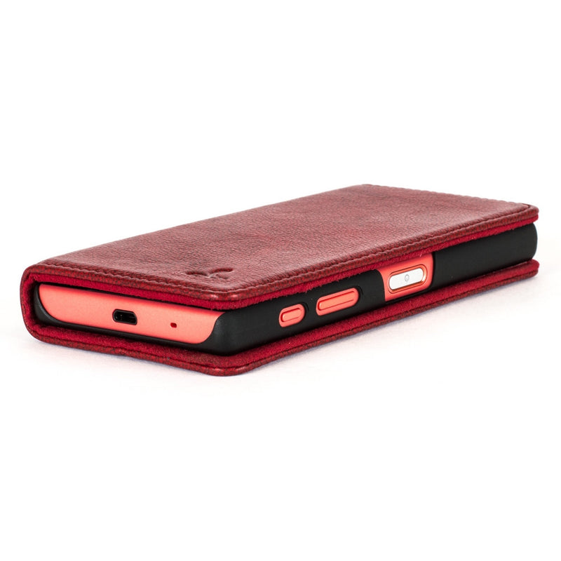 Slimline Ruby Red Dappled Leather Wallet – Sony Xperia Z5 Compact - Snakehive