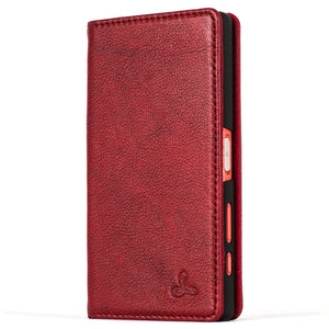 "Slimline Ruby Red Dappled Leather Wallet €"" Sony Xperia Z5 Compact - Snakehive"