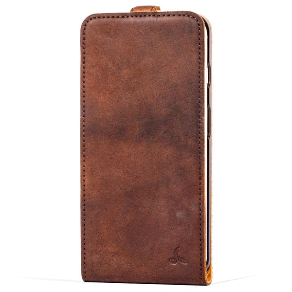 Vintage Chestnut Brown Leather Flip - Apple iPhone 7 Plus