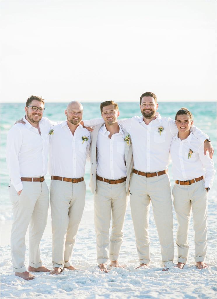 beach wedding groom