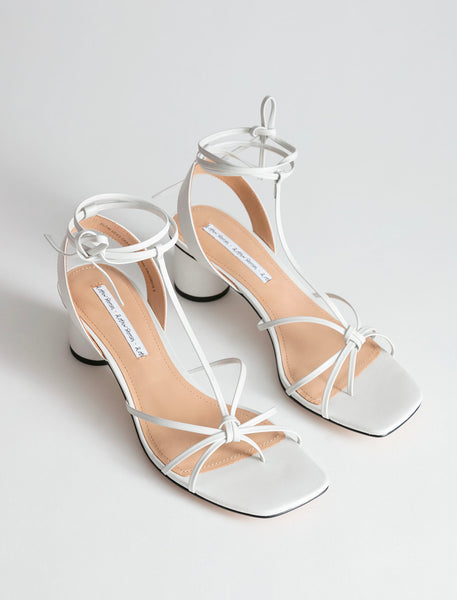 SQUARE TOE LACE UP HEELED SANDALS, &OtherStories