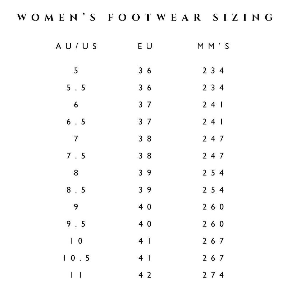 bridal shoe size chart
