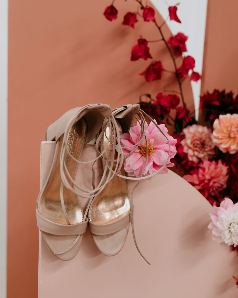 Nude bridal shoes with low heel