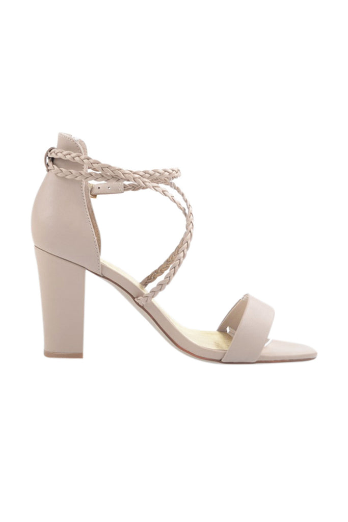 Nude wedding shoes with plaited straps