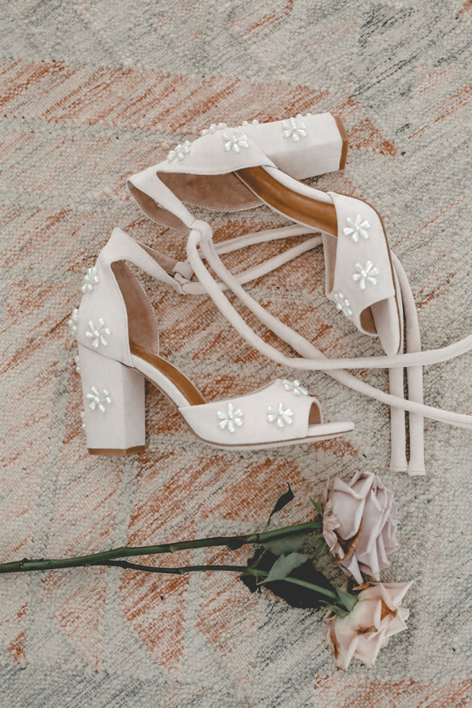 pearl flower wedding shoes