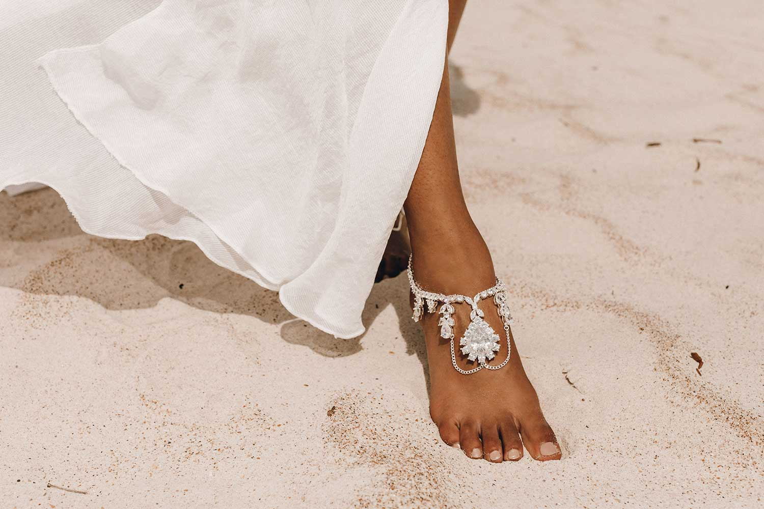 Jewelled Barefoot sandals for beach wedding