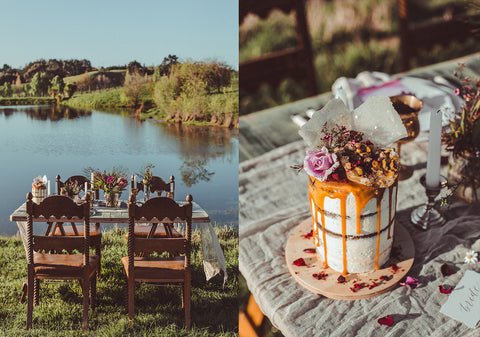 outdoor seating and cake