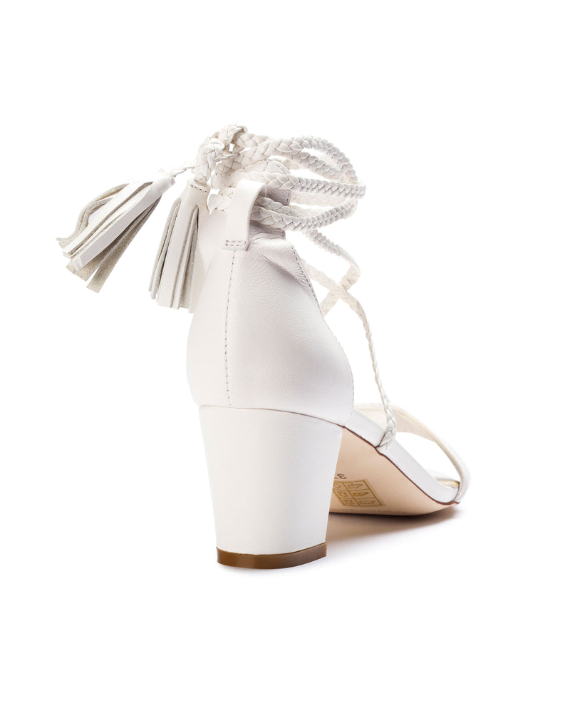 Ivory bridal shoes low heel plaited straps