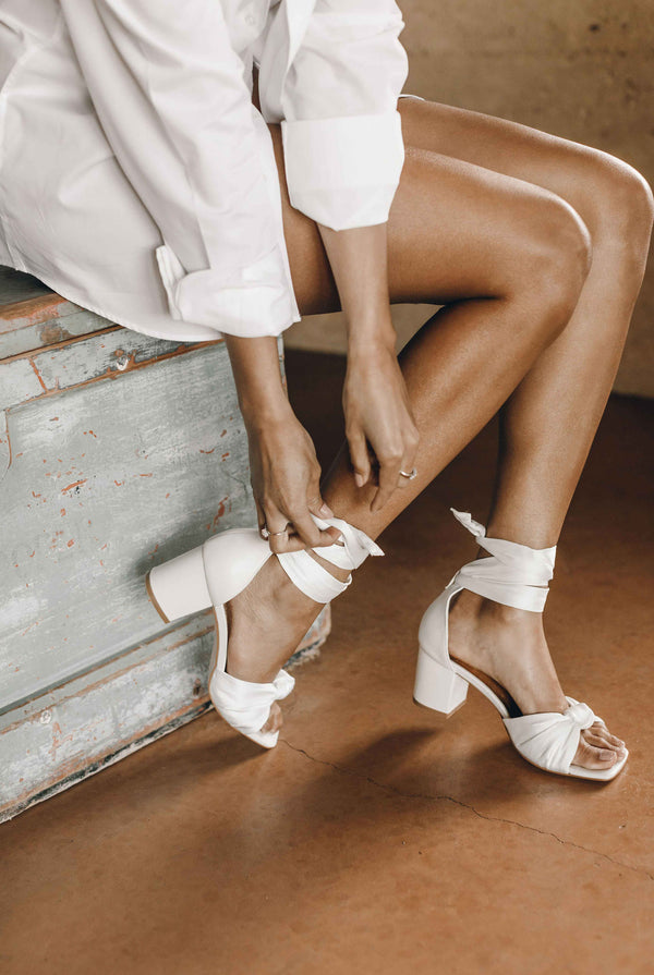 Low heel ivory wedding shoes
