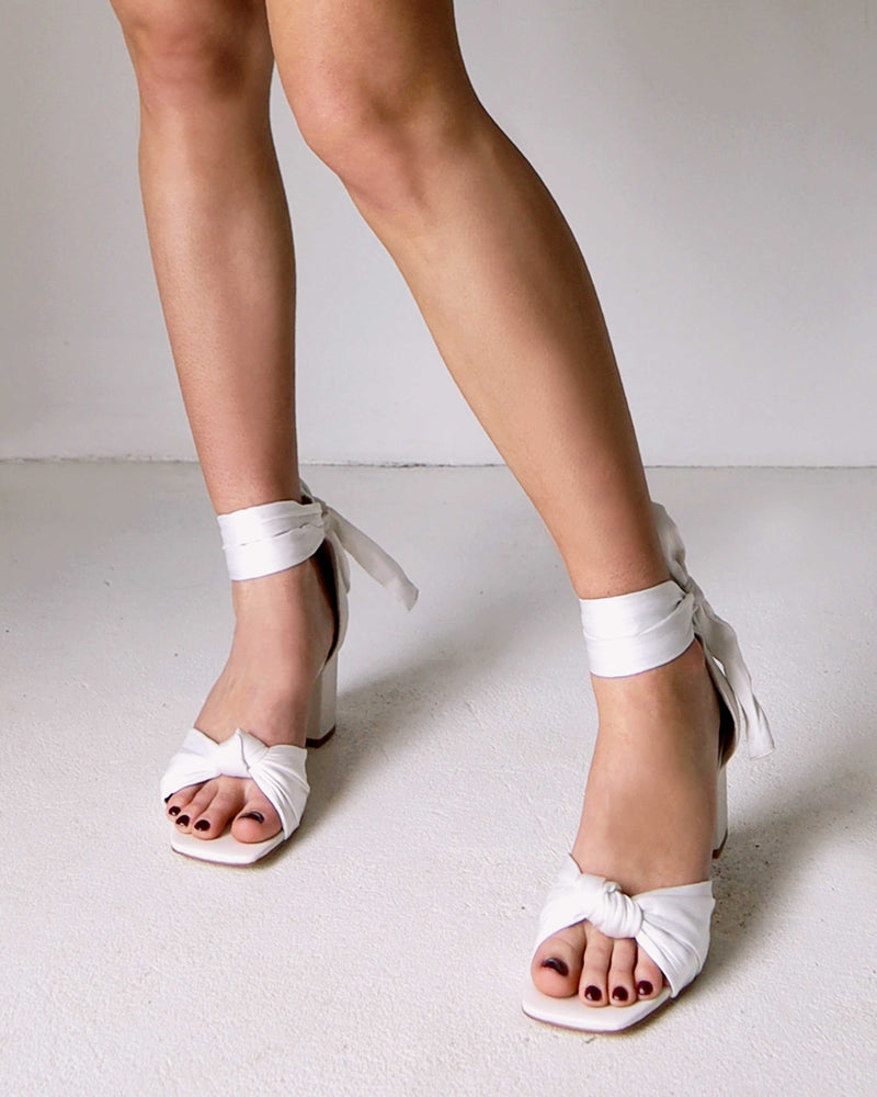 square toe wedding shoes with tie straps