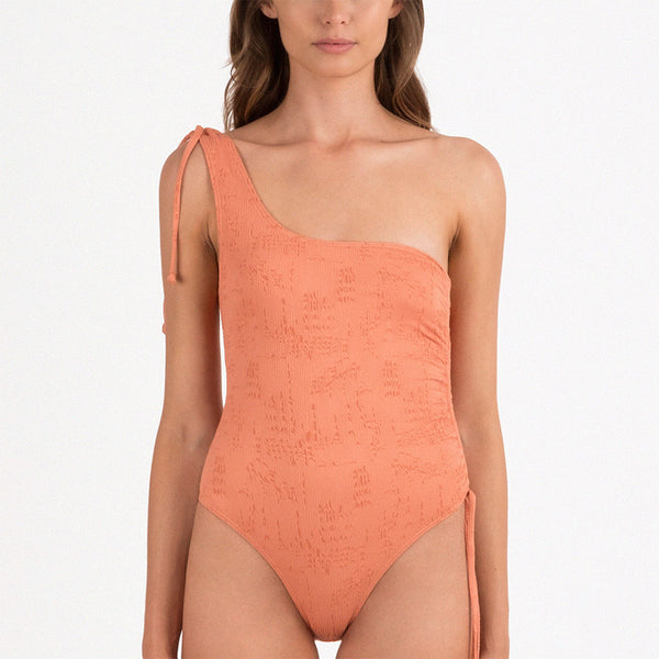 Brandied Apricot Ruched One Piece