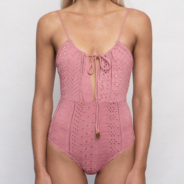 Dusty Rose Gathered One Piece
