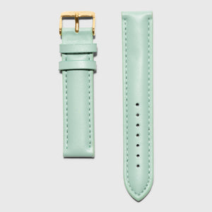 Green leather strap - for women's watches - Gold buckle - 18 mm - Kraek