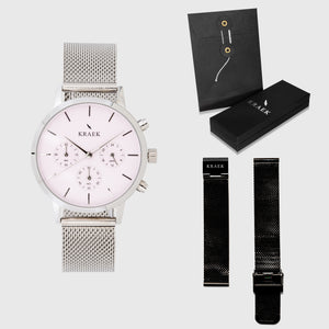 Pink Dial - KRAEK - silver & black mesh straps - gift package - silver women's watch