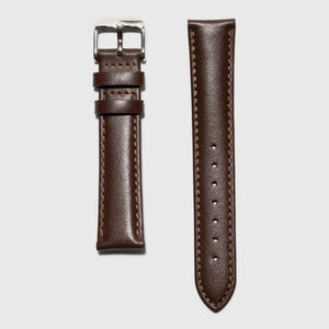 Brown leather strap - for women's watches - silver buckle - 18 mm - Kraek