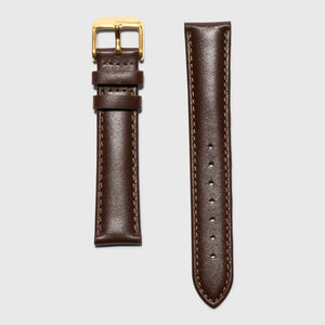 brown leather strap - for women's watches - gold buckle - 18 mm - Kraek