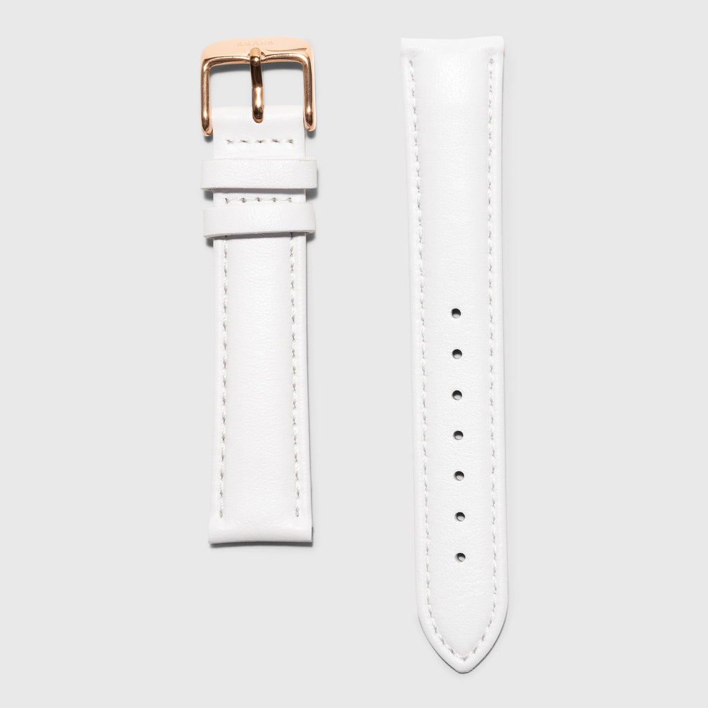 White leather strap - for women's watches - rose gold buckle - 18 mm - Kraek