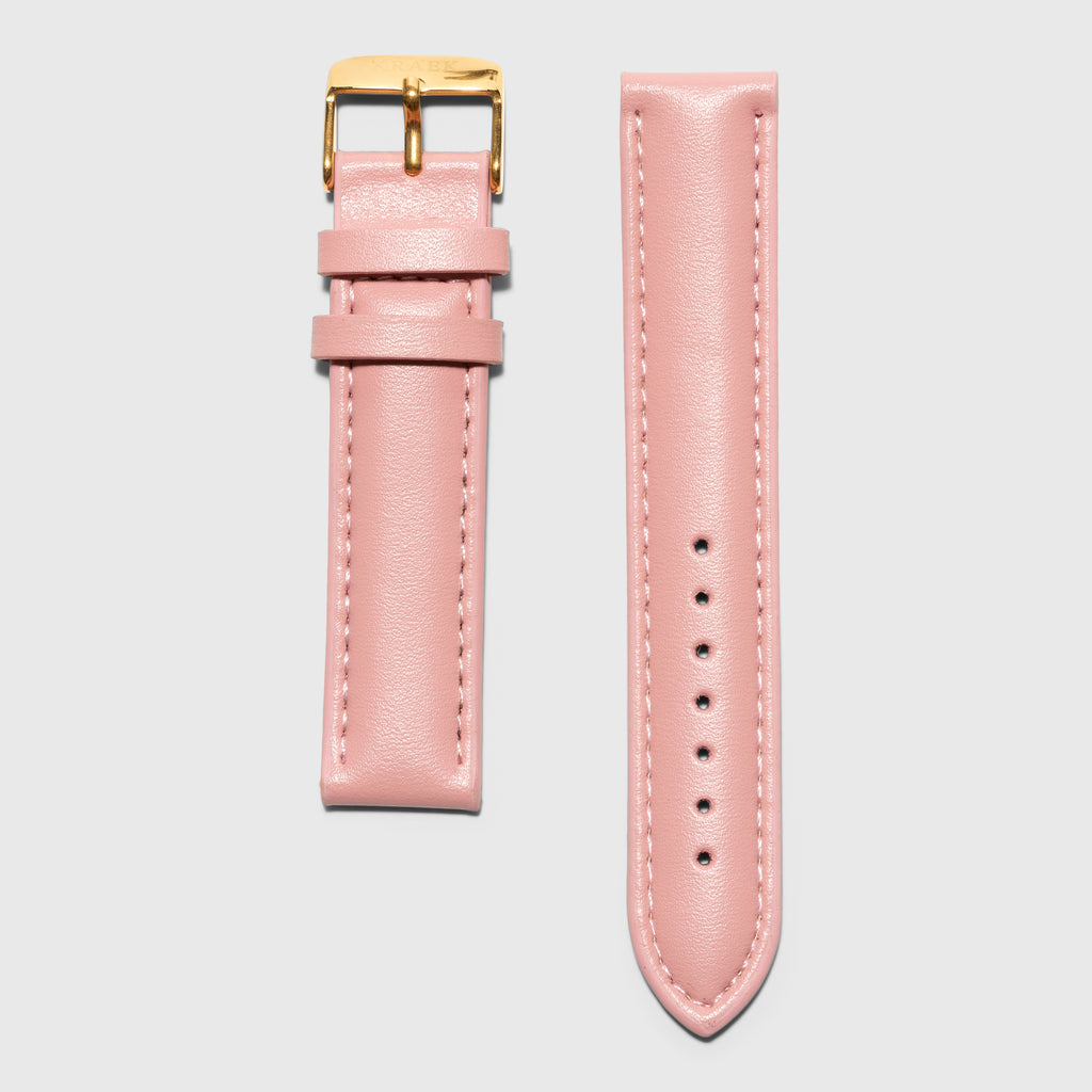 Pink leather strap - for women's watches - gold buckle - 18 mm
