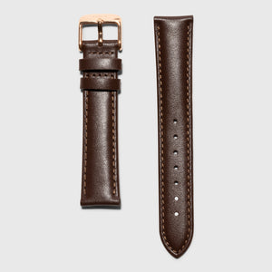 brown leather strap - for women's watches - rose gold buckle - 18 mm - kraek