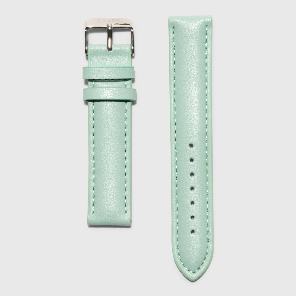 Green leather strap - for women's watches - silver buckle - 18 mm - Kraek