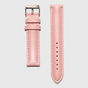 Pink leather strap - for women's watches - Silver buckle - 18 mm