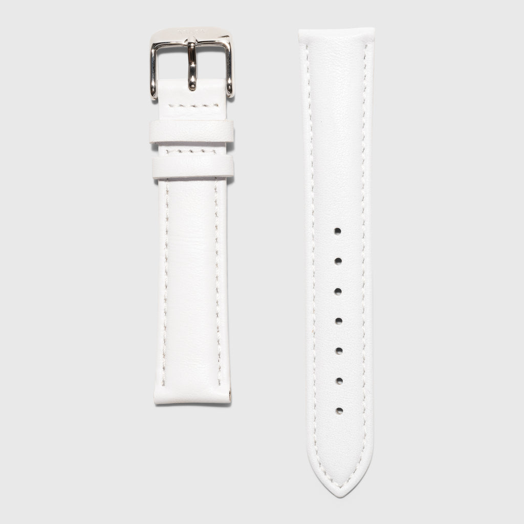 white leather strap - for women's watches - silver buckle - 18 mm - Kraek