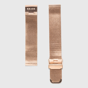 rose gold steel mesh strap - for women's watches - rose gold buckle - 18 mm - Kraek