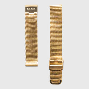gold steel mesh strap - for women's watches - gold buckle - 18 mm - Kraek