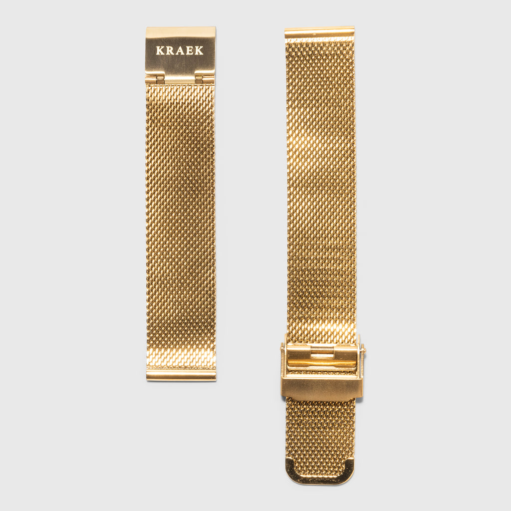 Gold mesh women's strap convertible - gold steel-  Kraek