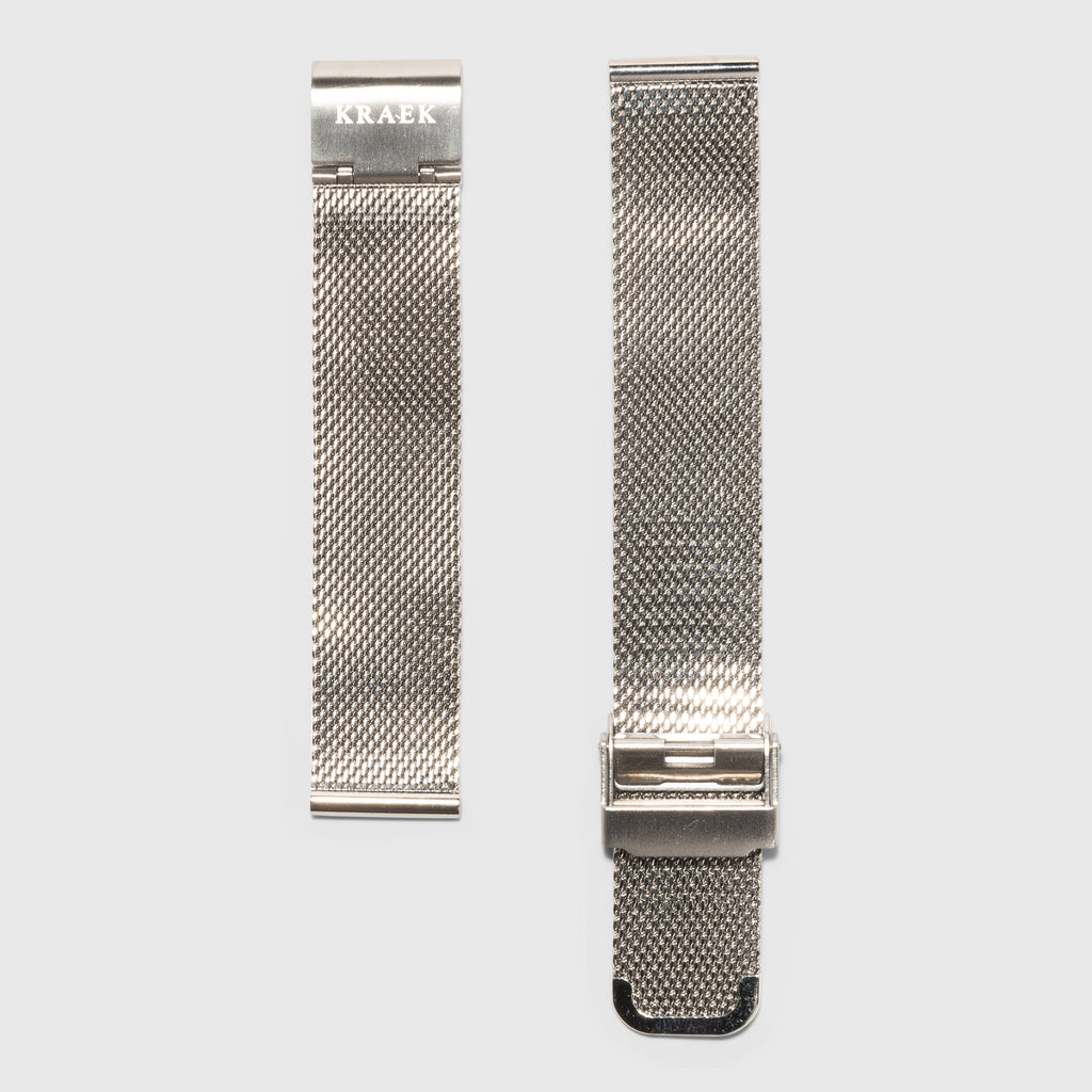 women's mesh strap convertible - silver color - Kraek - 18 mm