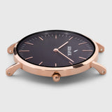 rose gold round case women's watch - black dial - Svelte Kraek