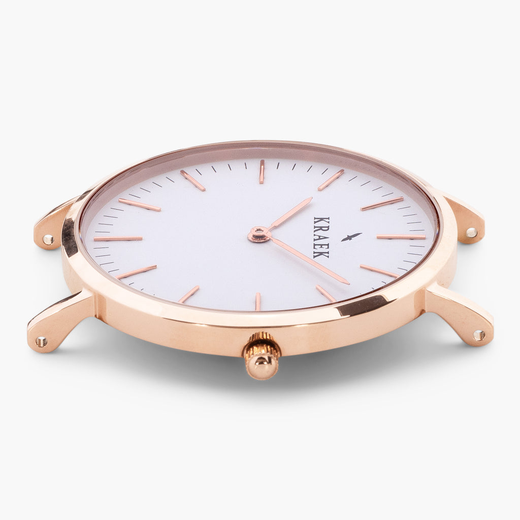 rose gold round case women's watch - white dial - Svelte Kraek