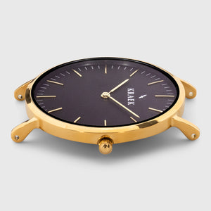 Gold round case women's watch - black dial - Kraek
