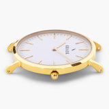 gold round case women's watch - white dial - Svelte Kraek