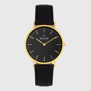 Gold women's watch - black leather strap - black dial - round case - Svelte Kraek
