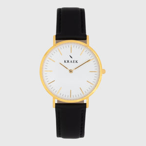 gold women's watch - black leather strap - white dial - round case - Svelte Kraek