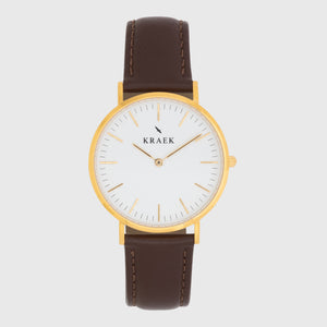 gold women's watch - brown leather strap - white dial - round case - Svelte Kraek
